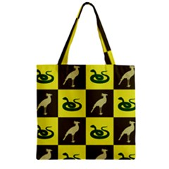 Bird And Snake Pattern Zipper Grocery Tote Bag