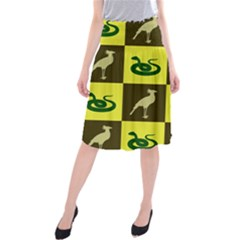 Bird And Snake Pattern Midi Beach Skirt
