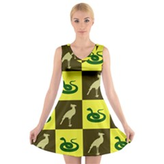 Bird And Snake Pattern V Neck Sleeveless Skater Dress