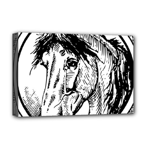 Framed Horse Deluxe Canvas 18  X 12