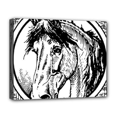 Framed Horse Deluxe Canvas 20  X 16