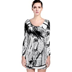 Framed Horse Long Sleeve Bodycon Dress
