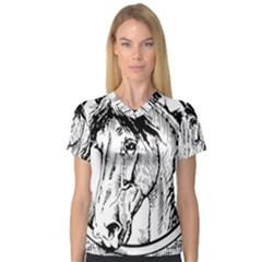 Framed Horse Women s V Neck Sport Mesh Tee