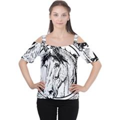 Framed Horse Women s Cutout Shoulder Tee