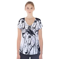 Framed Horse Short Sleeve Front Detail Top