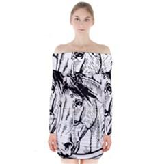 Framed Horse Long Sleeve Off Shoulder Dress