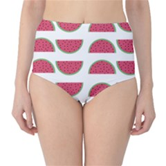 Watermelon Pattern High-Waist Bikini Bottoms