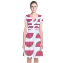 Watermelon Pattern Short Sleeve Front Wrap Dress
