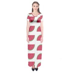 Watermelon Pattern Short Sleeve Maxi Dress