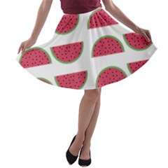 Watermelon Pattern A Line Skater Skirt
