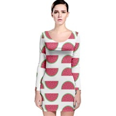Watermelon Pattern Long Sleeve Velvet Bodycon Dress