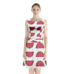 Watermelon Pattern Sleeveless Waist Tie Chiffon Dress