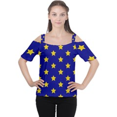 Star Pattern Women s Cutout Shoulder Tee