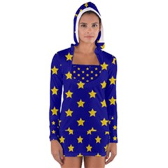Star Pattern Women s Long Sleeve Hooded T Shirt