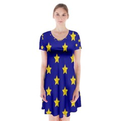 Star Pattern Short Sleeve V Neck Flare Dress