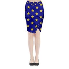 Star Pattern Midi Wrap Pencil Skirt
