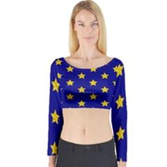 Star Pattern Long Sleeve Crop Top