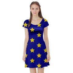 Star Pattern Short Sleeve Skater Dress