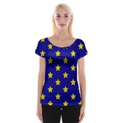 Star Pattern Women s Cap Sleeve Top