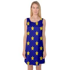 Star Pattern Sleeveless Satin Nightdress