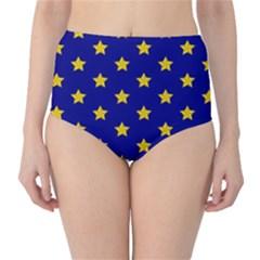 Star Pattern High Waist Bikini Bottoms