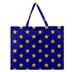 Star Pattern Zipper Large Tote Bag