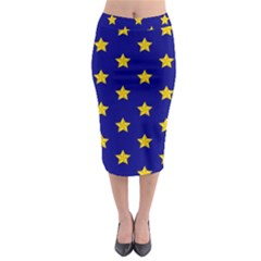 Star Pattern Midi Pencil Skirt