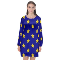 Star Pattern Long Sleeve Chiffon Shift Dress
