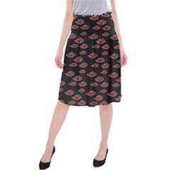 Cloud Red Brown Midi Beach Skirt