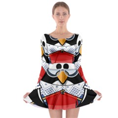 Grandma Penguin Long Sleeve Skater Dress