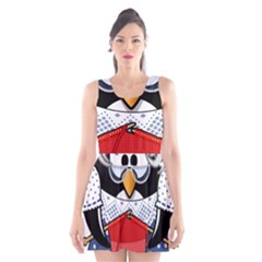 Grandma Penguin Scoop Neck Skater Dress