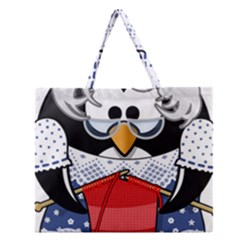 Grandma Penguin Zipper Large Tote Bag