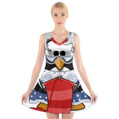 Grandma Penguin V Neck Sleeveless Skater Dress
