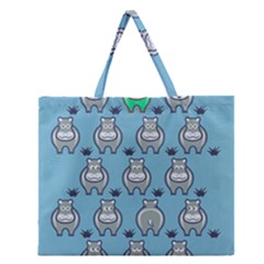 Funny Cow Pattern Zipper Large Tote Bag