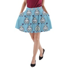 Funny Cow Pattern A Line Pocket Skirt