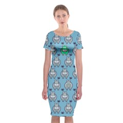 Funny Cow Pattern Classic Short Sleeve Midi Dress