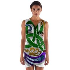 Celtic Ornament Wrap Front Bodycon Dress