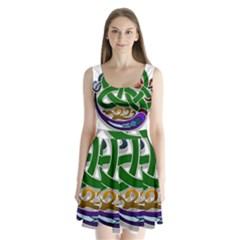 Celtic Ornament Split Back Mini Dress