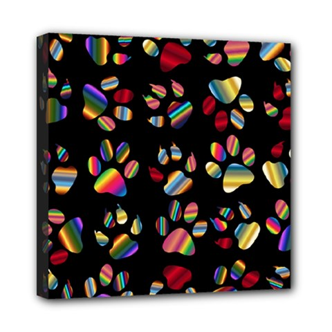 Colorful Paw Prints Pattern Background Reinvigorated Mini Canvas 8  x 8