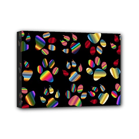 Colorful Paw Prints Pattern Background Reinvigorated Mini Canvas 7  x 5