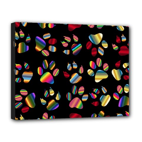 Colorful Paw Prints Pattern Background Reinvigorated Canvas 14  X 11