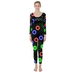 Neons Couleurs Circle Light Green Red Line Long Sleeve Catsuit