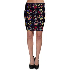 Colorful Paw Prints Pattern Background Reinvigorated Bodycon Skirt