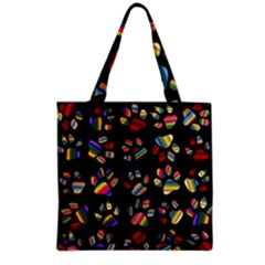 Colorful Paw Prints Pattern Background Reinvigorated Grocery Tote Bag