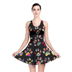 Colorful Paw Prints Pattern Background Reinvigorated Reversible Skater Dress