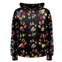 Colorful Paw Prints Pattern Background Reinvigorated Women s Pullover Hoodie