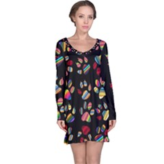 Colorful Paw Prints Pattern Background Reinvigorated Long Sleeve Nightdress