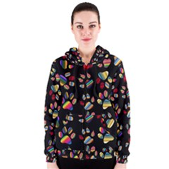 Colorful Paw Prints Pattern Background Reinvigorated Women s Zipper Hoodie