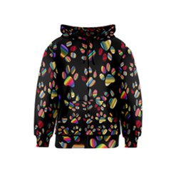 Colorful Paw Prints Pattern Background Reinvigorated Kids  Zipper Hoodie