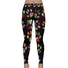 Colorful Paw Prints Pattern Background Reinvigorated Classic Yoga Leggings